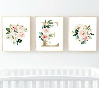 3 Blush Pink Gold Floral Personalised Monogram Nursery Prints Flowers Art 614-A