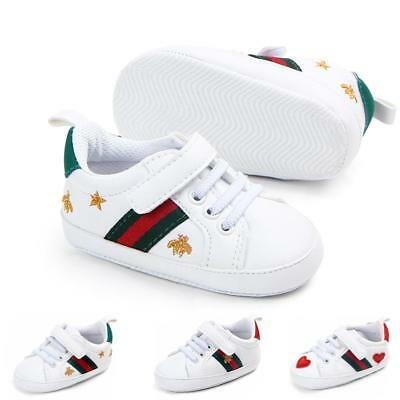 Toddler Baby Boy White Crib Shoes Casual Sneakers Soft Soles Size 0-18 Months UK
