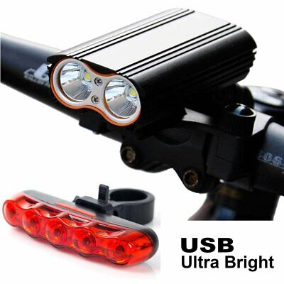 Super Bright Bike Cycling T6 LED Front Light USB Rechargeable Rear Tail Lamp Kit