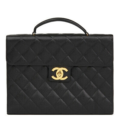 Chanel Black Quilted Caviar Leather Vintage Jumbo Xl Classic Briefcase  Hb2178
