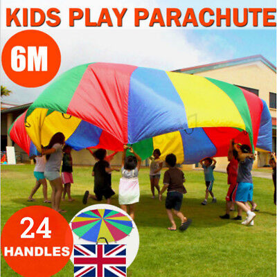6M Kids Play Parachute Large Children Rainbow Outdoor Game Exercise Sport Toy