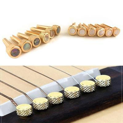 Gold Brass Acoustic Guitar Bridge Pegs Pins Set Replacement Parts String Nail UK