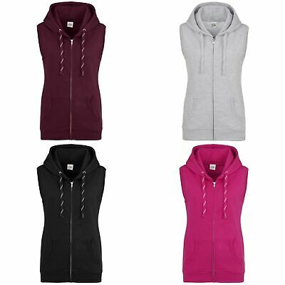 AWDis Girlie Ladies SLEEVELESS ZOODIE Full Zip Gilet Hoodie in Colour Choices