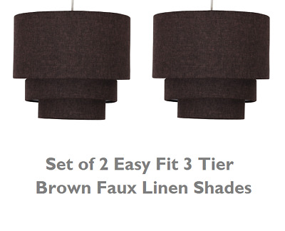Set of 2 Modern 3 Tier Easy Fit Brown Ceiling Light Pendant Shade Chandelier