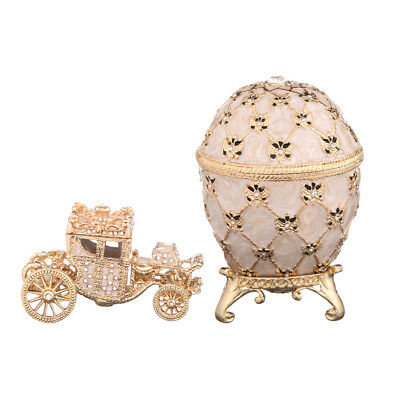 Faberge Egg Trinket Jewel Box Russian Coat of Arms & Carriage 3.7'' 9.5cm cream