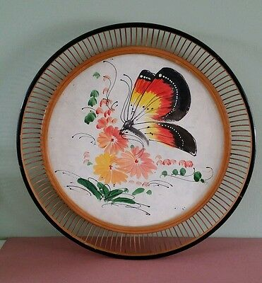 Hand Painted  Chinese  bamboo Framed Picture /Tray - Butterfly