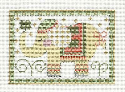 *NEW* Elephant Rectangle in Yellow HP Needlepoint Canvas CH Designs from Danji