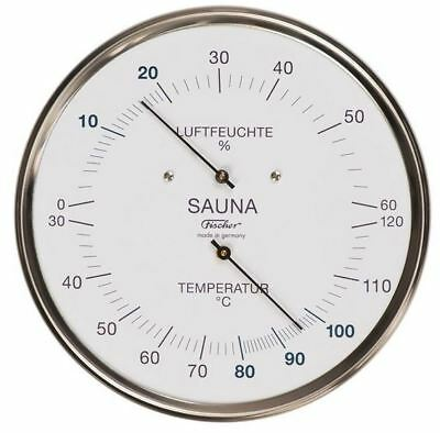 Fischer Sauna-Thermohygrometer 130mm Chromstahlgehäuse Made in Germany