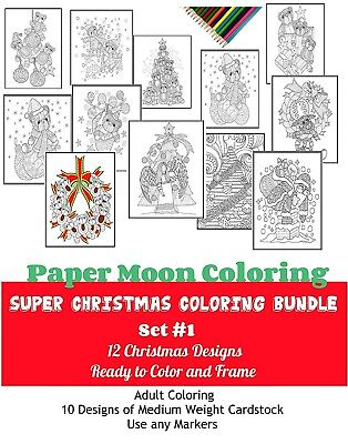 Line Art Christmas Coloring Pack #2, Bundle 12 Posters, Cardstock Poster Sheets