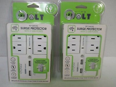 2 HYPE VOLT 90° WALL TAP SWIVEL SURGE PROTECTOR w/ 2 USB PORTS - WHITE - RC 4461