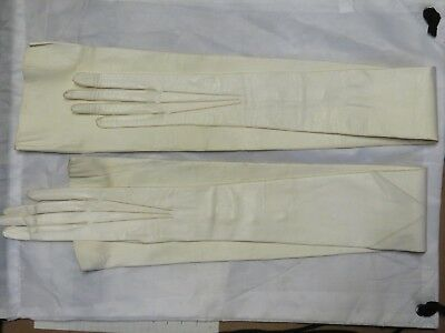 Victorian Lady's Extra Long White Leather Elbow Gloves, Paris, 1800's, Antique