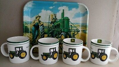 4 John Deere Mugs and Metal Serving Tray Gibson