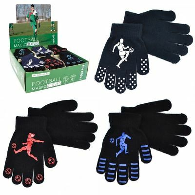 Boys Kids Thermal Magic Gripper Gloves Football Designs Xmas Winter One Size.