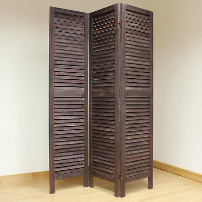 Brown 3 Panel Wooden Slat Room Divider Home Privacy Screen/Separator/Partition