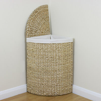 Corner Woven Laundry Basket Cloth Lining Lid Hamper Bin Wicker Washing Storage