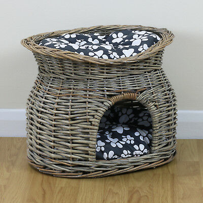 Two Tier Pet Bed Basket For Cat/Puppy Small Dog Igloo Wicker House Grey Cushion