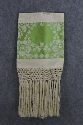 linen damask towel 1800 green white large 20x42 old stock original antique
