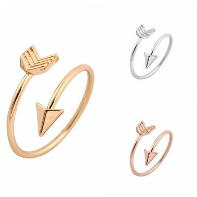 UK SILVER ROSE GOLD PLT ARROW ADJUSTABLE RING Fashion Jewellery Gift Idea Boho