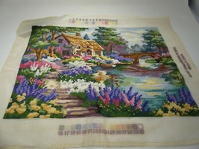 Finished Completed 2487 Needlepoint Gardeners Cottage English Bridge Dimensions