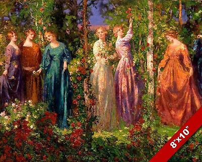 GATHER YE ROSEBUDS WHILE YE MAY YOUNG WOMEN GIRLS PAINTING ART REAL CANVAS PRINT