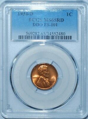 1934 D PCGS MS65RD Red DDO FS-101 Double Doubled Die Obverse Lincoln Cent Finest