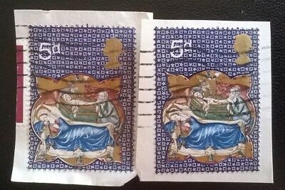 2 Gb Error/variety Used Pre-Decimal 5D Xmas 1970  Stamps Sg839 Gold Qe2 Shift