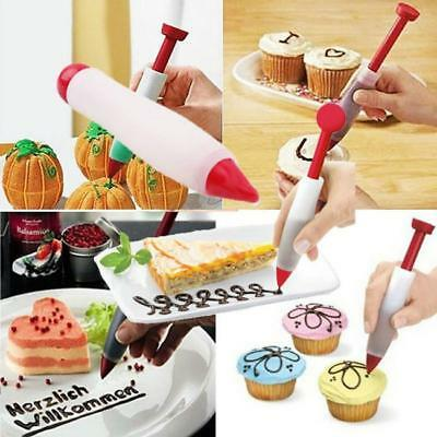 Pastry Pen Cake Chocolate Cookie Cream Icing Decorating Syringe Bake Supplies SL