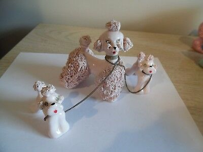 vintage spaghetti pink poodle with 2 puppies on chains
