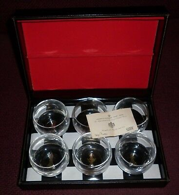 Set 6 Swank Swedish Scotch Glasses In Novelty Box Good Condition