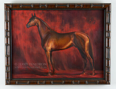 Original Oil Painting Year of The Horse by Terry Waldron Signed