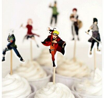 24pcs Naruto Cupcake Toppers With Bamboo Kids Birthday Party Supplies