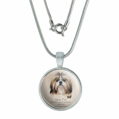 """Shih Tzu Dog Breed 0.75"""" Pendant with Sterling Silver Plated Chain"""