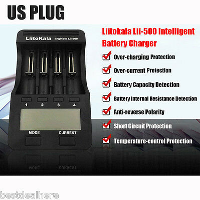 12V / 2A Lii-500 4 Slots LCD Li-Ion Battery Charger With Fast Charge US PLUG
