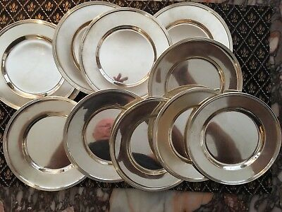 "Vintage ""Amston"" Sterling Silver Bread Dishes, Set of (15) .925 Fine, 1096 grams"