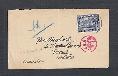 Aden 1940 Red 'Passed By Censor' Cover To Toronto Ontario Canada