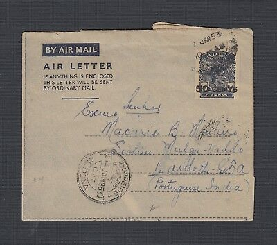 Aden 1953 50 C Overprinted Air Letter To Siolim Goa Portuguese India