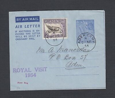 Aden 1954 Two Air Letters Uprated Aden Camp Local Use Fdc & 1962 To Pa Usa