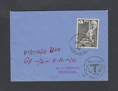 Aden Qu'Aiti State Of Hadhramaut 1956 Postage Due Cover To Mukalla