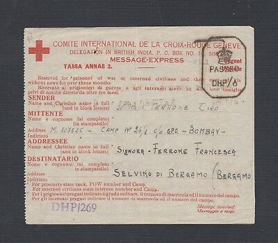 India 1945 Censored Red Cross Message System Form Sent By Italian Pow To Italy