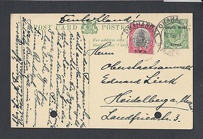 South West Africa 1920 Uprated Ps Card Okahandja To Heidelberg Germany
