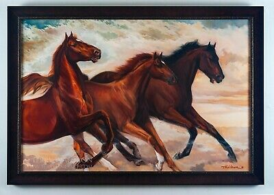 Original Oil Painting Racing Eternally by Terry Waldron Signed