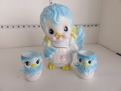 Vintage Relpo Bluebird Planter And Japan Bluebird Egg Cups  Must See Adorable