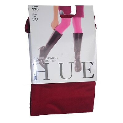 "Women's Super Opaque Tights By Hue Control Top Size 2 ""Sienna"" (Bold Warm Red)"
