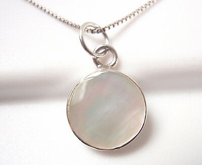 Mother of Pearl Circle 925 Sterling Silver Round Pendant Corona Sun Jewelry