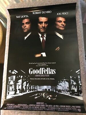 """GOODFELLAS 1990 ORIG 1 SHEET MOVIE POSTER 27""""x40 1/2"""" (VF-) ROLLED/DOUBLE SIDED"""