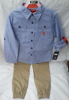 U.S. Polo Assn. Boys Youth Kids 2 Piece Outfit Size 6 Clothes Pants Shirt NWT