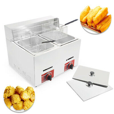 HQ Commercial Countertop Gas Fryer, 2 Basket, GF-72 Propane (LPG) w/ metal tube