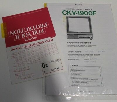 Sony Trinitron Color TV Monitor Model CKV-1900F Operating Instructions Manual