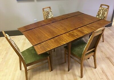 Vintage Mid-century Modern Dining Set w/ Rosewood Inlay Drop-leaf Table 4 Chairs