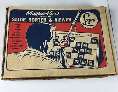 """Magna View 1050 Illuminated Slide Sorter and Viewer by Logan 3"""" Magnifying Len"""